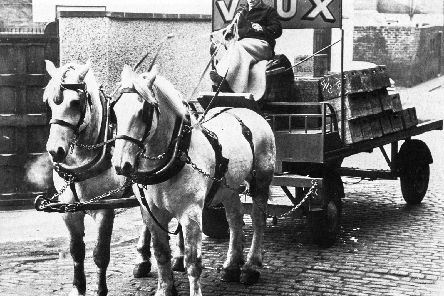A Vaux dray with horses in 1962.