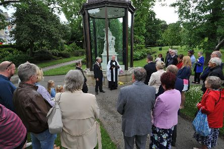 Memorial service for the Victoria Hall Disaster, attended by the Deputy Mayor of Sunderland Coun Harry Trueman, Mowbray Park, Sunderland.
