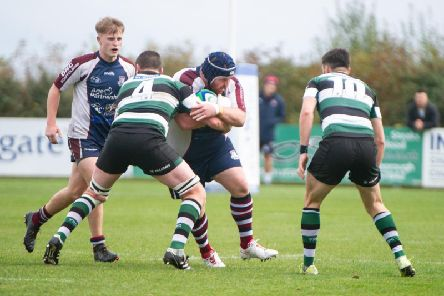 Scarborough RUFC's Matty Jones on the charge against York.