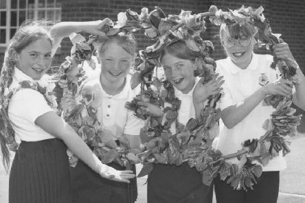 At the Filey Junior School Spring Fair in May, 1996, the school's country dancers put on a polished performance - from left are Hayley McLorinan, Emily Homer, Helen Willis, and Claire Wheelhouse.