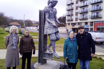 Members of Scarborough Civic Society welcome the arrival of the Bathing Belle.