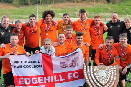 Edgehill celebrate winning the Division One title. Picture by Alec Coulson.