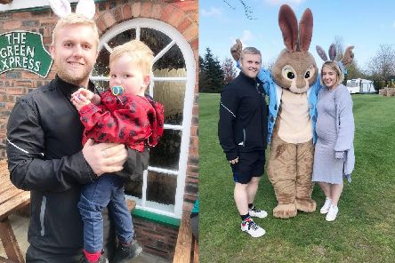 Left: Matt with Oakley who he is taking on the marathon in honour of. Right: Matt and Charlotte Dugdale