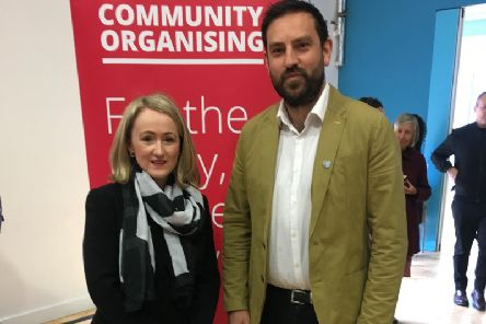 Shadow Business Secretary Rebecca Long-Bailey with Scarborough and Whitby Parliamentary candidate Hugo Fearnley.