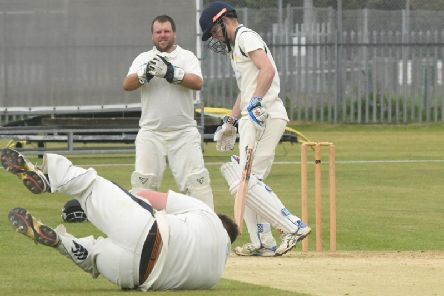Brid 2nds' Tom McMeeken is dismissed against Ganton'Picture by Dominick Taylor