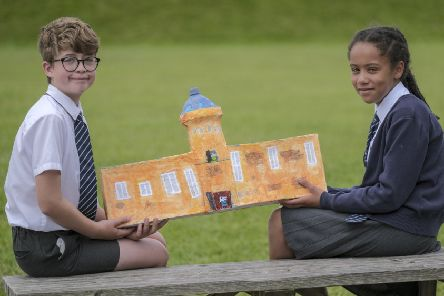 Jack Cliffe and Adeline James Year 5 pupils at St Martin's School with their model of The Rotunda Museum.'�Tony Bartholomew