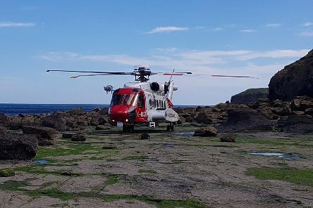A helicopter was called out to rescue a woman in Ravenscar.