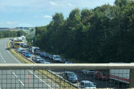 There has been traffic on the A64 throughout the day. Picture by Jim Calvert.