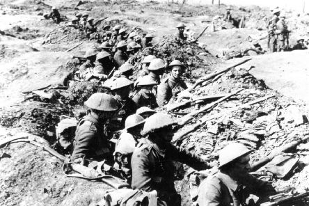 World War One Trench Warfare.  Cramped and crowded conditions in the trenches on the Somme
