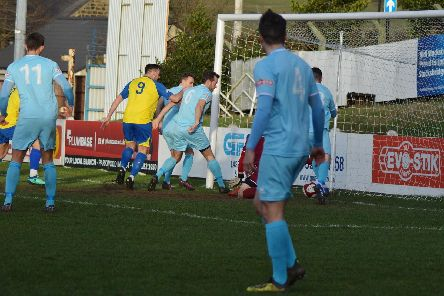 Is it or isn't it?  Stocksbridge look to have been denied a winner as Scott Ruthven's shot appears to be over the line  - Credit Gillian Handisides