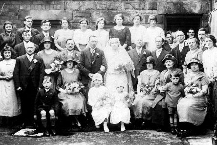 Wedding Group of Miss Hilda Willis and Mr. Ernest Ford outside 340 Main Road, Darnall, 1924