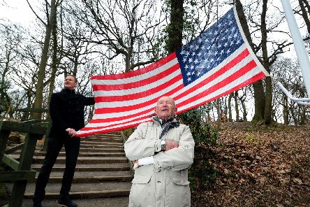 Unveiling of the new flagpole at Mi Amigo Memorial, Endcliffe Park, Sheffield..Tony Foulds with BBC presenter Dan Walker are pictured.
