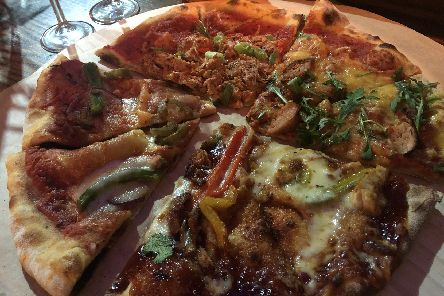 A plate of pizza at the Slice bar