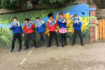 Year 4 pupils at Carfield Primary School celebrating their recent Ofsted judgement