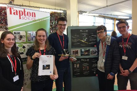 Year 12 students at Tapton School showcasing their modular satellite which they designed as part of the Engineering Education Scheme with support from ARM technologies. '(L-R) Emma Bladen, Emily Pearson, Tom Edwards, Owen Cooper, Sam Krain.