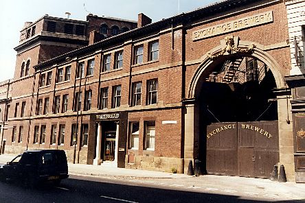 The Exchange Brewery, Sheffield, owned by Whitbread's. It was founded in 1820 by Tennant Brothers and closed in 1993