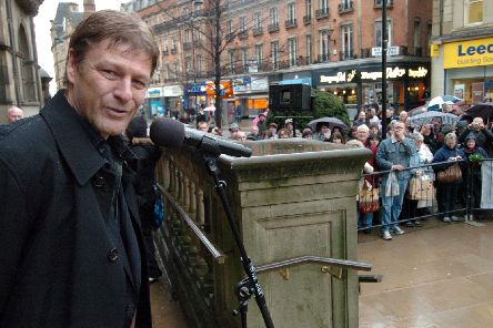 Sean Bean outside Sheffield Town Hall in 2010.