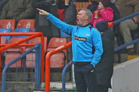 Picture by Gareth Williams/AHPIX.com; Football; Vanarama National League; Aldershot Town v Chesterfield FC; 19/01/2019 KO 15.00; The EBB Stadium; copyright picture; Howard Roe/AHPIX.com; Chesterfield boss John Sheridan gets some early instructions out