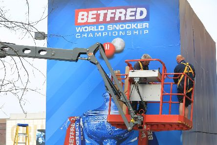 World Snooker branding is in place throughout the city centre. Picture: Chris Etchells
