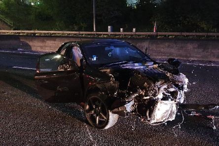 This car was involved in two collisions on the M18 last night
