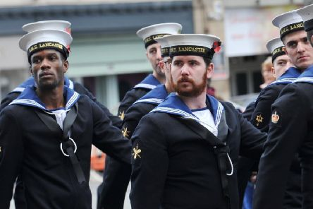 A parade past Lancaster Town Hall to end the annual Remembrance Day service and commemorations in Lancaster city centre. Photo by Michelle Adamson.