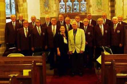 Lancaster and District Male Voice Choir before their performance at St Peter's, Leck on September 27 with Tetiana (Tanya) Kolosova, accompanist and Derek Walters, music director.