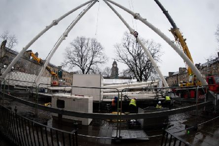 Construction of the big wheel gets underway in Lancaster