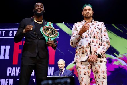Deontay Wiler and Tyson Fury. Picture: Mikey Williams/Top Rank.