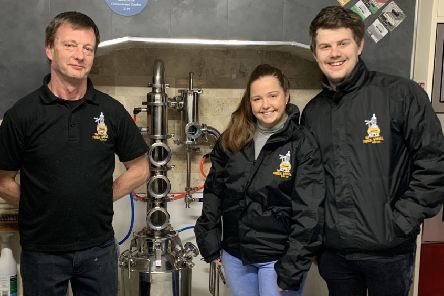 Colin Scott, his daughter Catherine and her soon-to-be husband, Peter Leonard, with the still, imported from Germany.