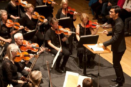 Conductor Jonathan Lo with the Haffner Ochestra at their concert.