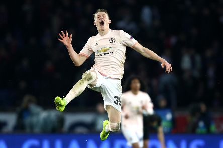 Scott McTominay celebrates Manchester United's famous win in Paris. Picture: Getty Images