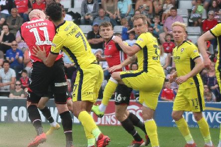 Morecambe in action against Cheltenham last season.