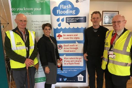 Flood wardens attending the Mytholmroyd construction event  Andrew Entwistle, Katie Kimber,Trevor Bannister, Keith Crabtree