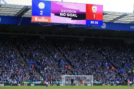 VAR's verdict is returned at the King Power Stadium in the game between Leicester City and Burnley