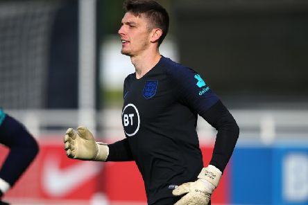 Goalkeeper Nick Pope trains with the England squad at St George's Park