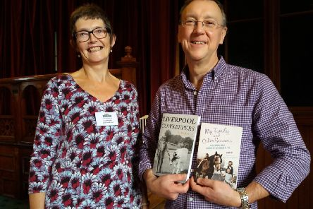 Cows Talk: Gill Radford, chair of U3A Todmorden, with speaker Dave Joy. Photo by Gail Allaby