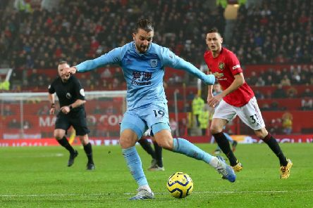 Jay Rodriguez thumps in Burnley's second goal against Manchester United at Old Trafford
