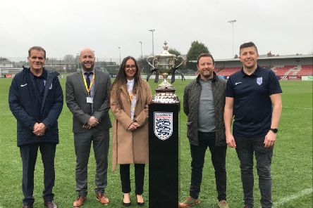 Up for the cup: (left to right) John Treacy (Lancashire FA), Stuart Chaplin and Deborah Blades (CANW), Kevin Gallacher and Iain Mackie (Lancashire FA) at the relaunch of the Orphanage Cup.
