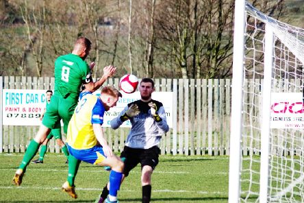 Aaron Martin misses a chance to put Brighouse Town ahead against Stocksbridge Park Steels. PIC: Steven Ambler.