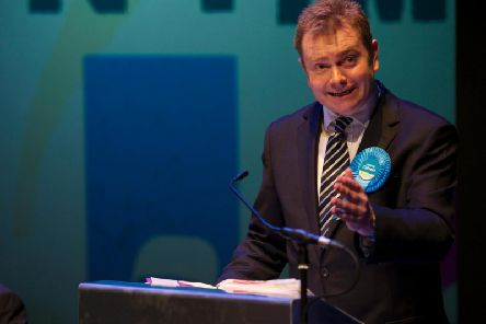 Conservative candidate Antony Calvert pleads his party's case to assembled students. Photo: Dean Atkins