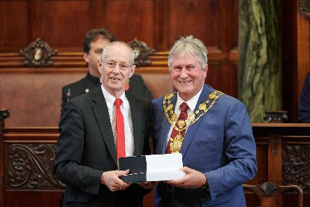 Coun Box was presented with a gift from Wakefield mayor Charlie Keith at his final council meeting. Picture from Wakefield Council.