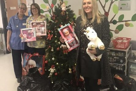 Zoe Gaitley with her collection of gifts at Pinderfields Hospital in 2018.