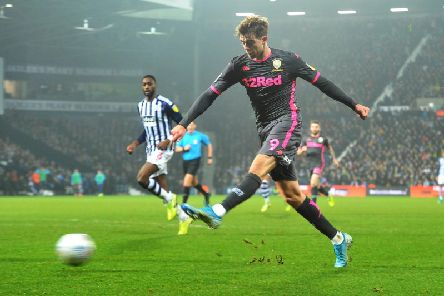 Patrick Bamford gets a shot in for Leeds United at West Brom. Picture: Tony Johnson