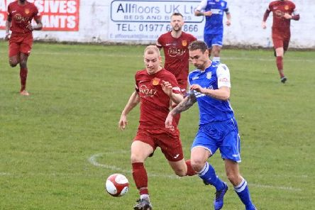 Adam Priestley in action against Frickley Athletic. PIC: John Hirst.