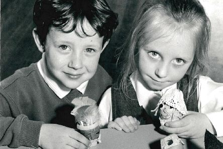 259. Clifton Infants School. Pupils decorate eggs for Easter. Photograph published in the Wakefield Express 1.4.1994.