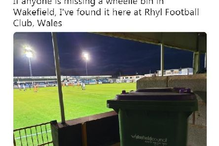 Joseph Gibbons found the Wakefield wheelie bin at Rhyl Football Club, in North Wales.