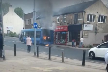 A bus burst into flames in Hemsworth over the weekend. Picture: Denise Hales.