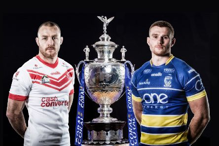 St Helens' James Roby and Warrington Wolves' Jack Hughes pose with the The Rugby League Challenge Cup Trophy. Picture by SWpix.com