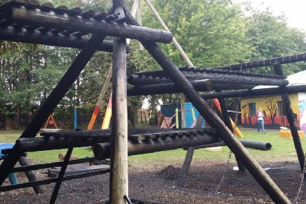Arsonists targeted this playground in Wakefield. Photo provided by WYP Knottingley and Ferrybridge.