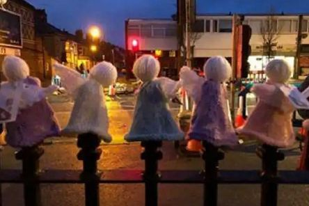 An army of 750 knitted angels appeared in Starbeck.